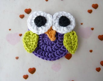 OWL, owl, owl, purple, dark - crochet applique