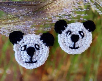 1 head of panda - crochet applique