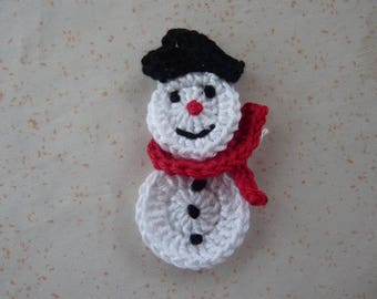 Snowman head - applique snowman with scarf, handmade crochet