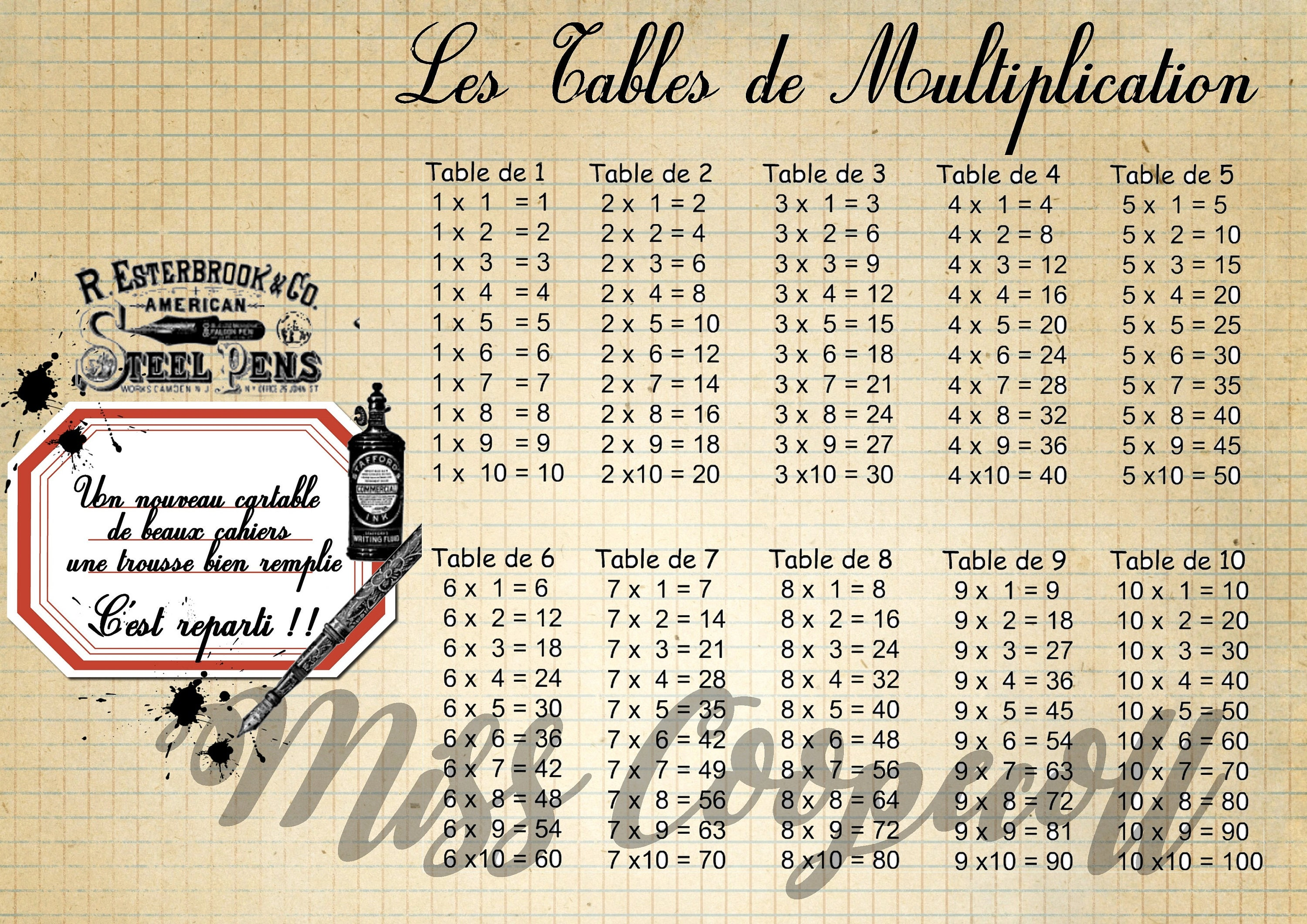 Table de multiplication imprimer format a4 c 39 est la - Table de multiplication a imprimer ...