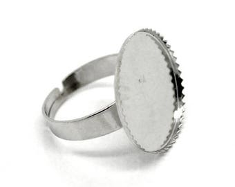 Support cabochon 20mm silver plated ring