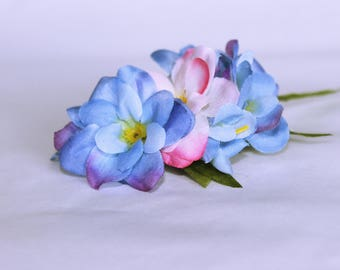 Silk light blue, pink accents hair flower with leaves on alligator clip // gift for her // hair accessory // bridal