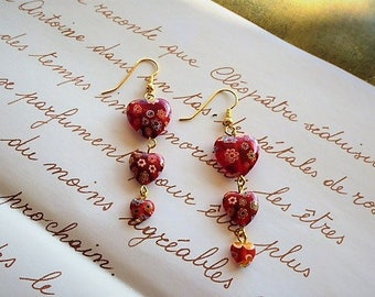 "Earrings ""asset"" hearts red glass millefiori length 6 cm"