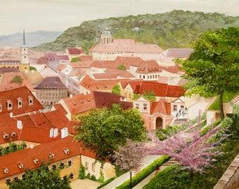 original landscape painting of Prague, Czech Republic