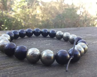 Jet Pyrite Bead Bracelet 8mm Minimalist Bracelet Meditation Protection Prosperity Yoga Bracelet Chakra Bracelet Grounding