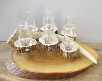 Vintage antler/horn glass barware,  shooters,6 shot glasses on antler and wood tray,man gift