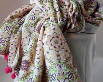 silk scarf pink green and Ecru tassel