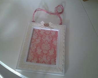 Wooden picture frame white with lace ecru