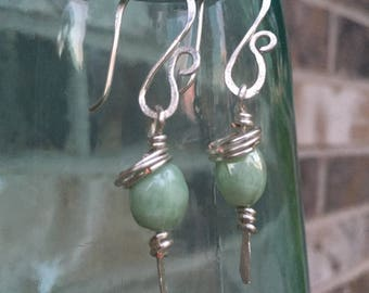 Hammered Silver with Sea Green bead earrings