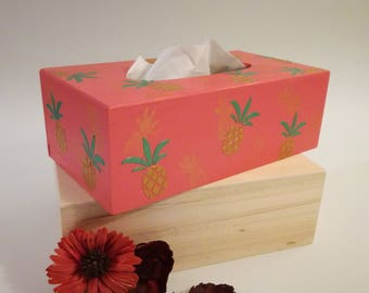 "Tissue box wooden ""pineapple"", box wooden Tissue box"