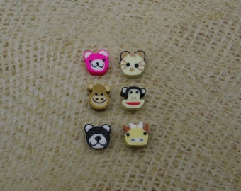 6 beads animal head resin 10mm
