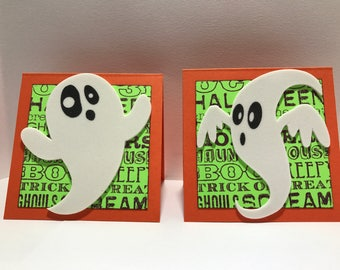 Halloween Note Cards - Little Ghosts - Handmade