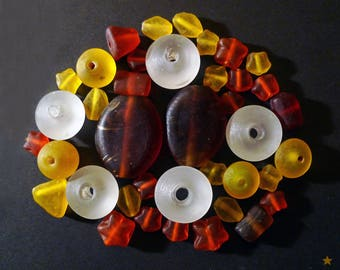 Indian artisan glass frosted orange, white, yellow, amber 39 beads
