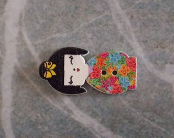 Button wood kokeshi doll Asian Japanese flower two holes for scrapbooking sewing 30mm