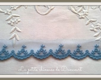 Old blue Camellia lace