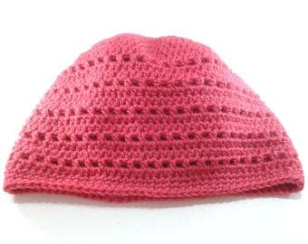 Raspberry Red Hat in Alpaca and acrylic