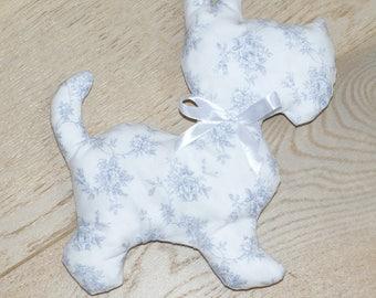 plush dog scottish shabby blue