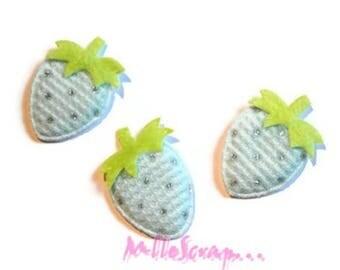 Set of 5 appliques Strawberry blue fabric scrap embellishment *.
