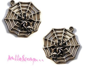 Set of 2 charms silver embellishment cobwebs scrapbooking *.
