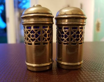 Vintage 1950s Silver Lattice Salt & Pepper Set with Cobalt Blue Glass