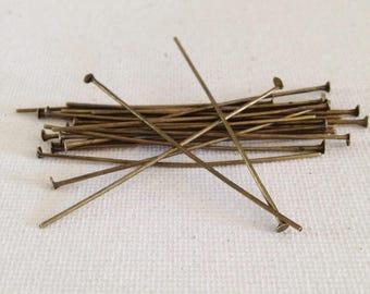 50 PCs 30 x 0, 8 mm flat head pins, bronze