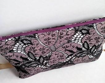 Purple French Calais lace clutch