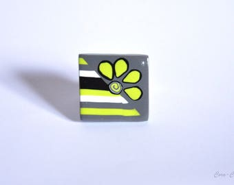 Lemon lime green grass square polymer clay ring