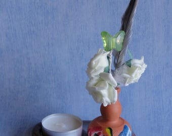 Tealight candle holder in white resin rose and Butterfly