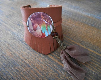Brown leather style Cuff Bracelet country