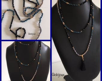 LONG CRYSTAL NECKLACE - 1 - 2 - 3 laps