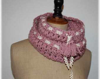 Pink Snood crocheted double Choker