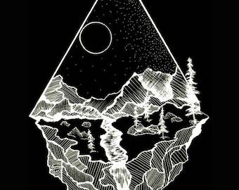 Mountain Print Printable Black and White Geometric Nature Landscape