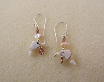 Carved shell dolphin and copper earrings with hand-forged sterling silver earwires
