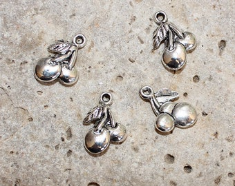 4 silver cherry charms 14 X 18 mm
