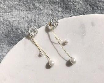 Winter Garden Earrings Gold Pearl