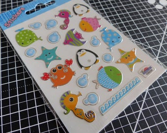 Overall decals stickers mirror - multicolored marine animals Gift