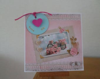 moms in 3D with a floral bicycle and hearts card