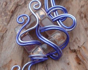 Crew neck, and Parma violet bi-tone aluminum pendant and murano blown glass