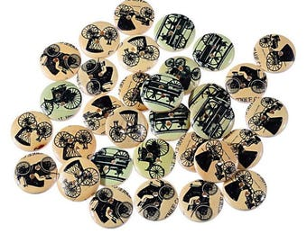 10 buttons wood Retro carriages and carts