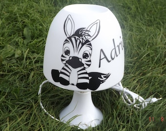 Small bedside lamp Zebra personalized