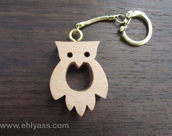 Wooden Keychain solid Owl 2 solid wood made fretwork b