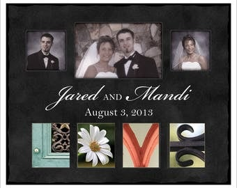 Personalized Love Photo Frame, Alphabet Photograph Picture Frame, Wedding Gift, Great Anniversary Gift, Holds 3 Photos