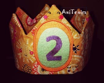 Birthday Crown cotton fabric and felt number