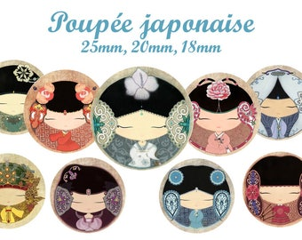 """""""Japanese Doll"""" digital collage sheet for sending MAIL round cabochons"""