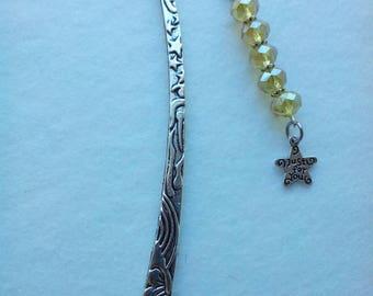 Bookmark metal carved yellow Bohemian beads