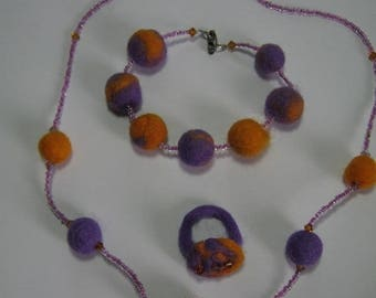 Felted wool beads set