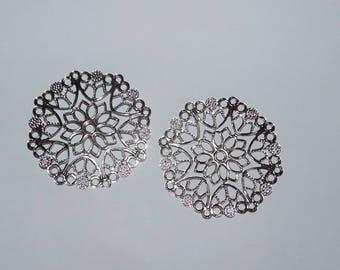 prints 2 rosette filigree connector 50mm diameter silver metal