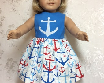 Anchors Aweigh Dress !  Fits American Girl Doll