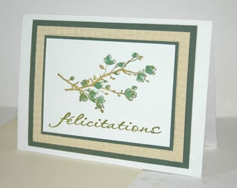 Congratulations birth or marriage - blue flowers card