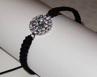 Black macrame and rhinestone charm bracelet